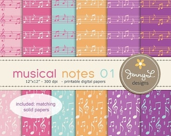 50% OFF Musical Notes Digital Papers for Digital Scrapbooking, Invites,