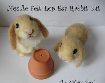 PDF PATTERN Cute Lop Ear Rabbit / Bunny Needle Felt - beginner/ intermediate - The Wishing Shed - Brown Hare Decoration / Ornament Gift