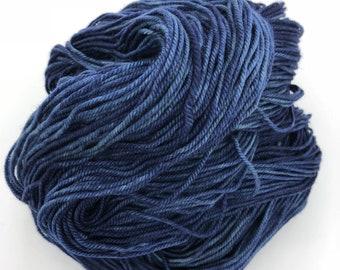 Midnight Blue 4ply hand dyed merino nylon sock yarn 100g