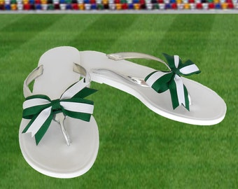 Green + White Bow Jelly Sandals