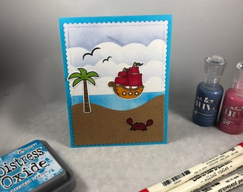 3D pivot card, Pirate Ship, Mermaids, Birthday card, Any Occasion