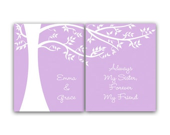 Sisters CANVAS Wall Art, Sister Quote, Personalized Kids Wall Art, Kids Name Art, Girls Wall Art, Lavender Girls Room Decor - KIDS74