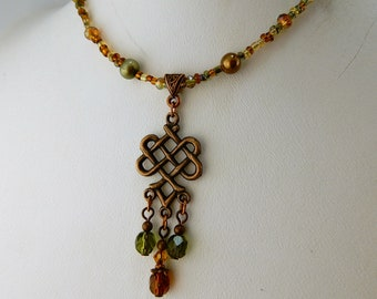Boho Antiqued Copper Celtic Knot beaded necklace with Czech Glass, Crystal and Freshwater pearl beads