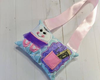 Ballerina themed Tooth fairy pocket pillow for girls with keepsake tooth chart, personalize with child's name, Pink, white, purple glitter