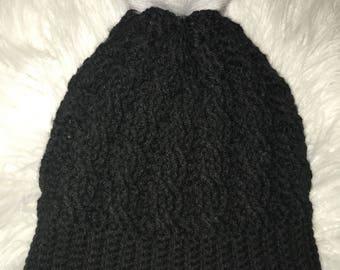 Cable crochet winter hat - Black