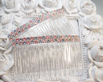 Pair of Pink and Blue Checkerboard rhinestones Hair Jewelry Side Hair comb pair, Valentines Day Combs, Easter Hair combs, side combs,  comb