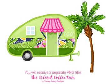 Glamping Vintage Camper Preppy Clip Art Clipart Tropical Palm Tree Alligator