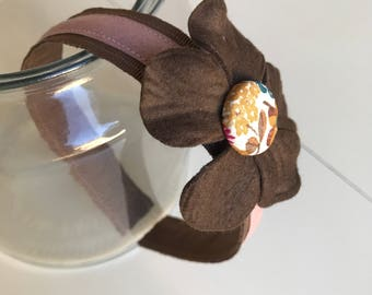Hairband circled Brown and pink antique Liberty of London with Flower and button coated