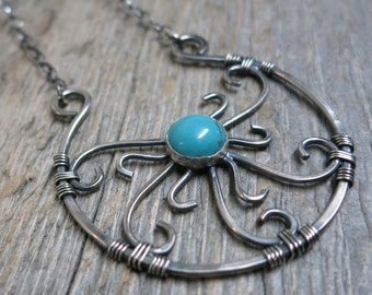 Mandala : Summer Solstice necklace ... metalwork / sterling silver / sleeping beauty turquoise