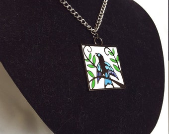 Colorful Bird Pendant Necklace - Large Pendant Necklace - Statement Necklace - Bird Jewelry