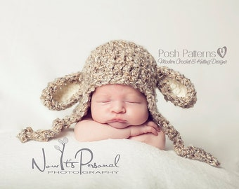 Crochet PATTERN - Crochet Lamb Hat - Crochet Patterns - Crochet Pattern Hat - Crochet Pattern Baby - 3 Sizes - Photo Prop Pattern - PDF 127
