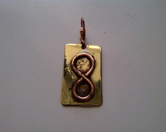 Copper Infinity on Brass Pendant, hand hammered