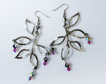 Elven Fairy Earrings, branch and crystals Earrings, Enchanting earrings with dark rainbow + pink Swarovski crystals and silver branch