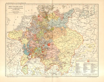 1894 Original Antique Map of Germany in the Year 1648 after the Peace of Westphalia