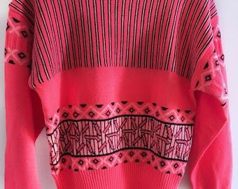 Vintage Pink Patterned Ski Sweater