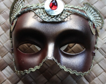 Gold, red and black golden cat masquerade mask with metallic gold braid and diamontes