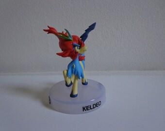 Pokemon Black or White Rare Keldeo Vinyl Toy Novelty Cake Topper Decoration, Anime Cartoon Character Figure on Base