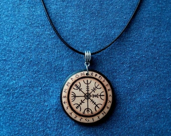 Pendant, keychain or wooden earrings: Nordic Viking Vegvisir/Viking Compass. Pyrography by hand. Jewelry.
