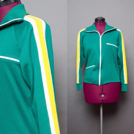 Track Sweatshirt 70's Jacket Zip Up Green Vintage Retro Small Unisex Striped Men's Yellow Women's 1970's Sport Track Jacket W5ij9lSwn0