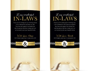 "In Law Wine Labels - Wedding Thank You Gift Parents of the Bride and Groom - Mother in Law Father ""In-Law Wine Label"" Gift Thank You"