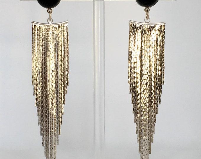 Silver drops, Silver drop earrings and black agate semi precious stone