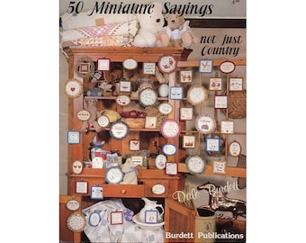 50 Miniature Sayings Cross Stitch Booklet, Country Cross Stitch, Sayings Cross Stitch, Country Patterns, Dale Burdett, by NewYorkTreasures