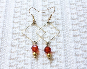 Geometric Dangling Earrings | Burnt Orange Crystal Bead