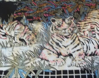 Tigers Border Print Fabric -Black