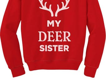 Deer Sister Reindeer Antlers Siblings Xmas Toddler/Kids Sweatshirt