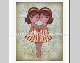 Children wall art, nursery art prints, baby girl nursery decor, African twin art sisters illustration, My Lovely Best Friend 8x10