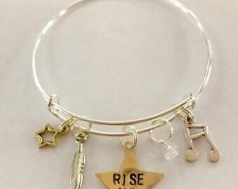 "Hamilton Inspired Hand-Stamped Star Bangle Bracelet - ""Rise Up"""