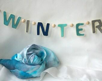 Winter Waldorf Banner for Seasonal Corner: Wildschooling Nature Table Decor (Natural Wool Felt Bunting & Optional Playsilk)