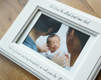 Personalized Custom Father's Day Picture Frame - White Photo frame - Gift for Dad - First Time Dad - Gift for Granddad -  Father's Day Gift