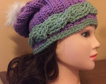 Single Cabled Slouchy Hat