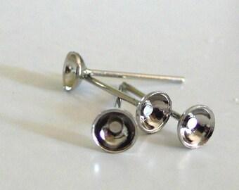 Set of 10 metal nickel/Platinum ear studs