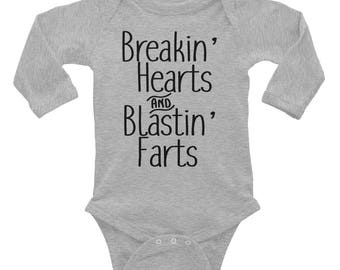 Breakin' Hearts and Blastin' Farts Infant Long Sleeve Bodysuit