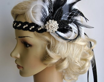 Black and white Rhinestone Flapper 1920s headpiece,Bridal wedding crystal headband great gatsby headpiece, rhinestone flapper