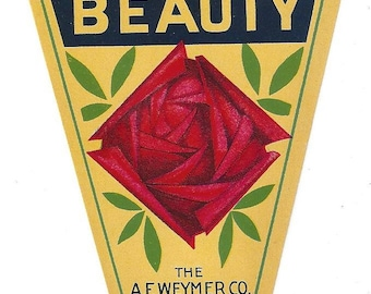 Vintage American Beauty The A.F. Weymer Co. Original Lithograph Broom Label, 1920s