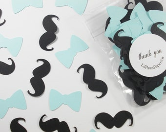 Mustache Bow Tie Confetti, Little Man Baby Blue Party Cutouts, Boy Baby Shower, Party Decorations, 100 Ct.