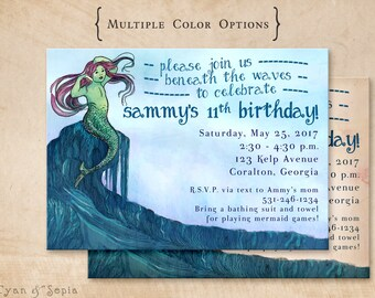 Printable Birthday Invitation - 5 x 7 - Mermaid Fairy Tale - Storybook, Vintage, Book, Ocean, Theme, Blue, Antique