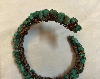 Women's turquoise, copper wire wrapped, flexible/shaped to your wrist, gorgeous bracelet!!!