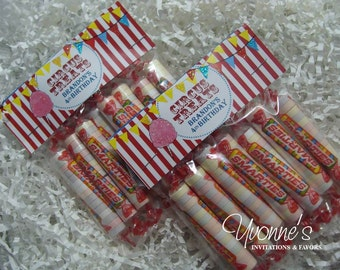 Circus Birthday Party Candy Goody Treat Bags - Carnival Child Birthday, First Birthday, 1st, 2nd, 3rd, 4th, 5th, 6th, 7th, 8th, 9th Birthday