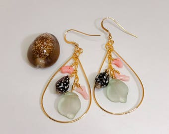 Gold Teardrop Hoop with Dangled Pink Coral, Sea Shells and Sea Glass Beads