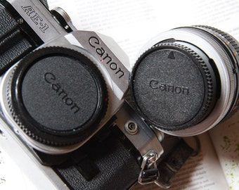 Genuine Canon FD Body and Rear Lens Cap Set