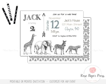 Zoo Birthday Invitation | Modern Zoo Invite | Printable, Printed Invitation | Black, White | Safari Invitation | Animal Birthday Party