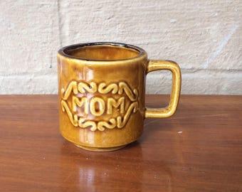 "1970's ""MOM"" Brown Ceramic Mug, 3.25"""