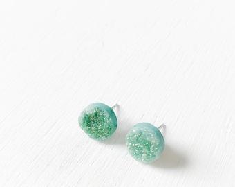 The Fairy Dust Earrings - natural druzy stud earrings.