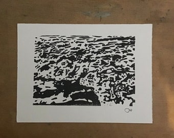 Waves linoprint