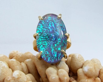 Dichroic Ring, Emerald green ring, Sapphire blue ring, color changing ring, glass stone ring, large stone ring, statement ring