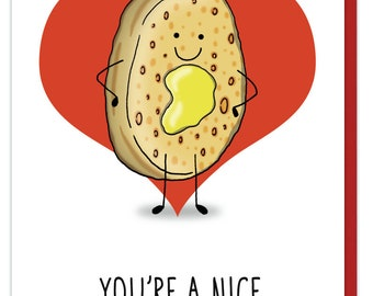 You're a nice bit of crumpet  - Greeting card - funny, pun, crumpet, cute, pretty, humor